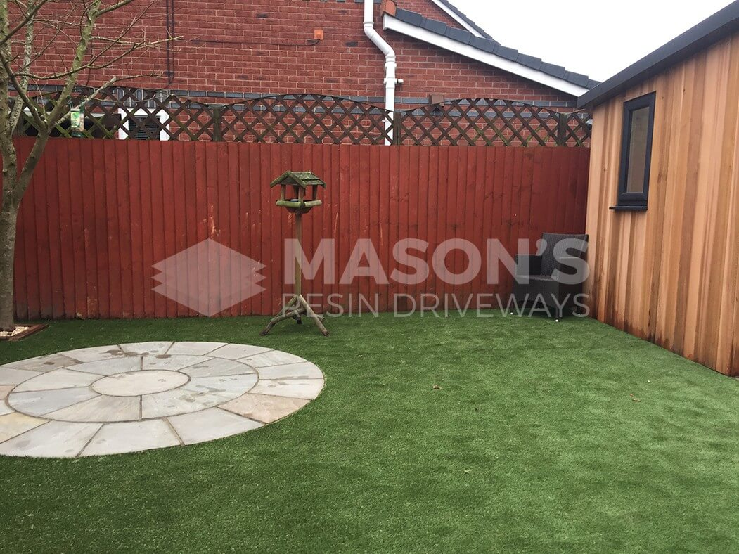 garden with artificial grass/lawn and paving in leyland near preston