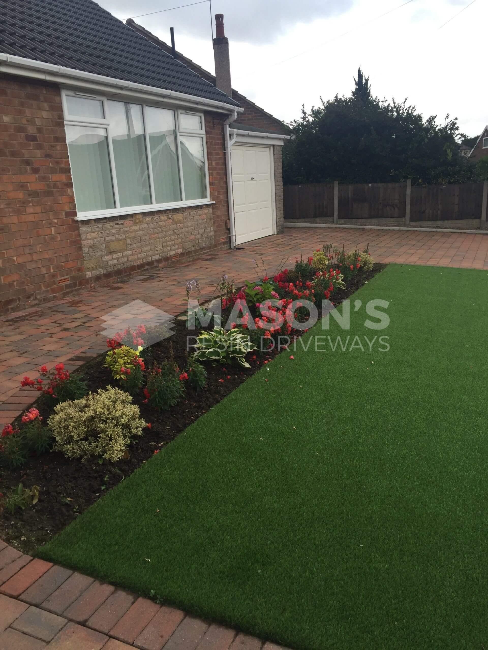 artificial lawn in front garden of house in fulwood, preston
