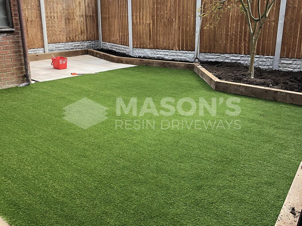 wide view of artificial lawn and landscaping work done in preston, lancashire
