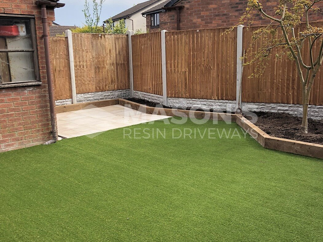 photo of artificial lawn and landscaping done in preston, lancashire