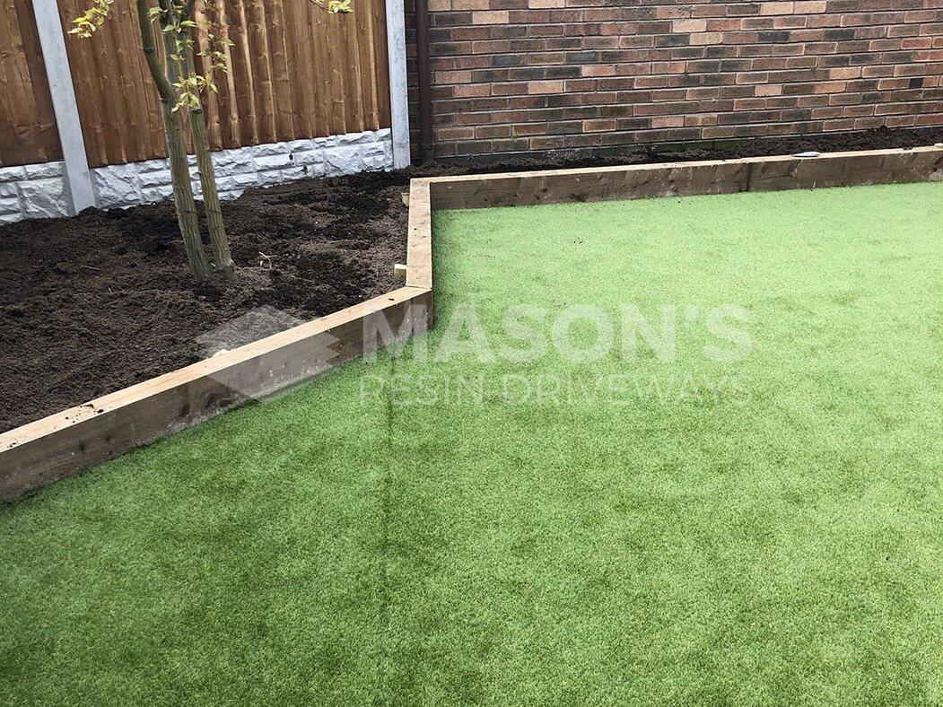 edges of artificial lawn/garden done in preston, lancashire