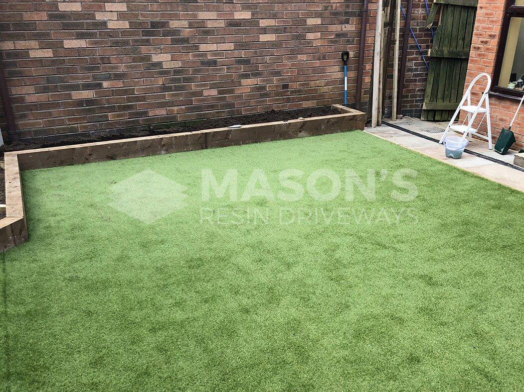wide view of artificial garden/lawn in preston, lancashire