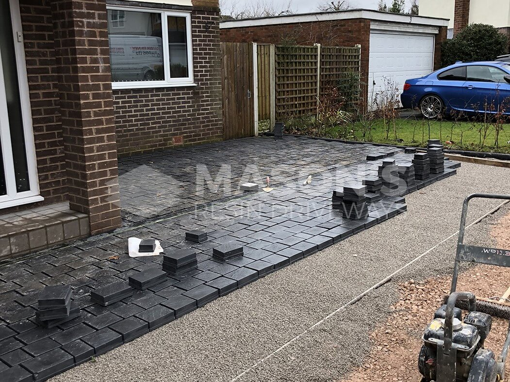 Another view of half complete block paving done in Leyland driveway