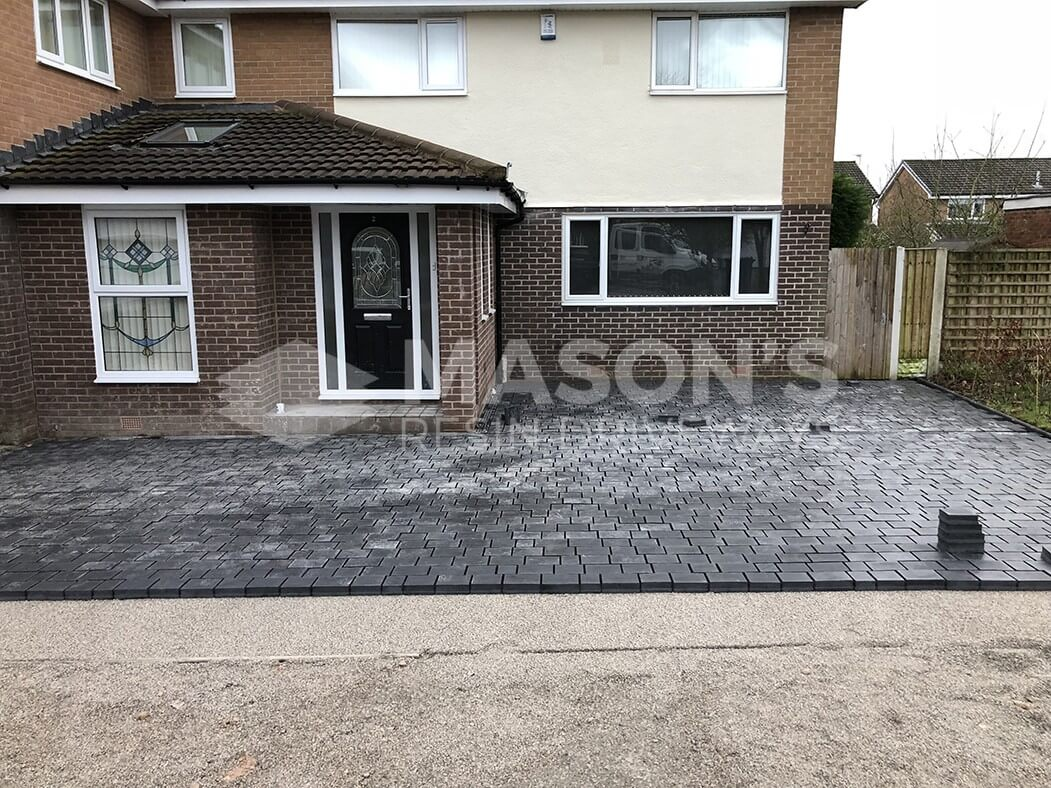Close to completion block paving driveway in Leyland