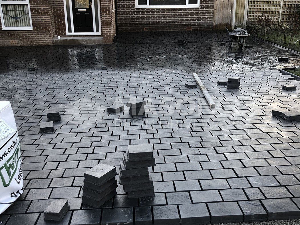 Close up of freshly paved block paving in Leyland driveway