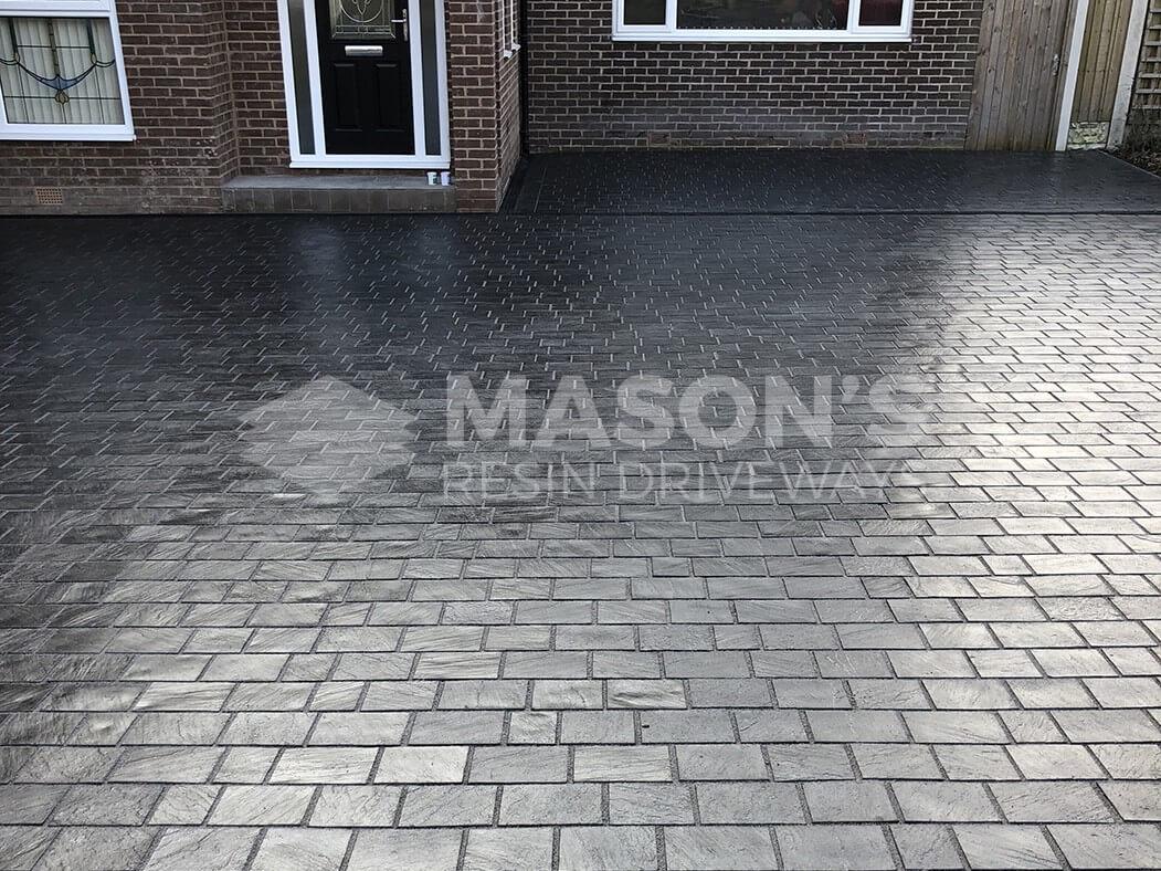 Full shot of block paving on Leyland driveway
