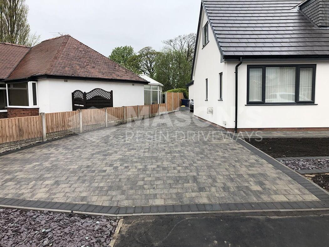 Full View of Block Paving Driveway Shannon Slate Preston, Lancashire