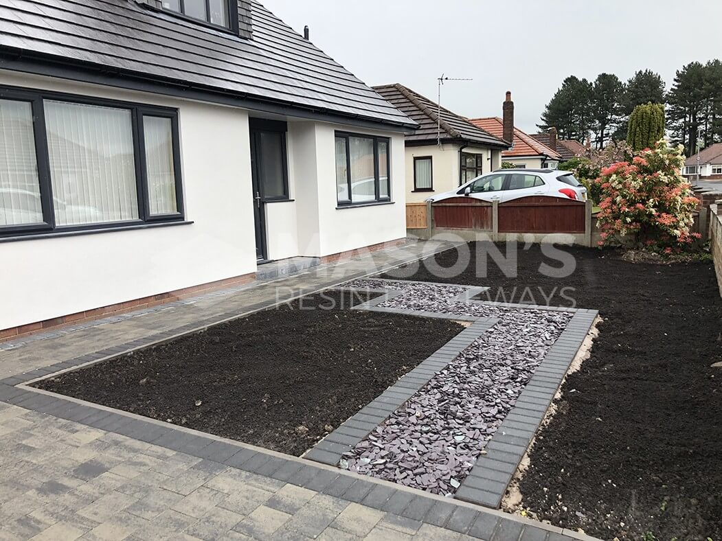 Block Paving Driveway in Slate with Front Garden in Preston, Lancashire