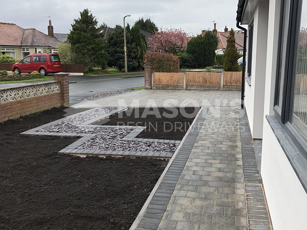 Side view of Block Paving Driveway and Landscaped front garden in Preston, Lancashire
