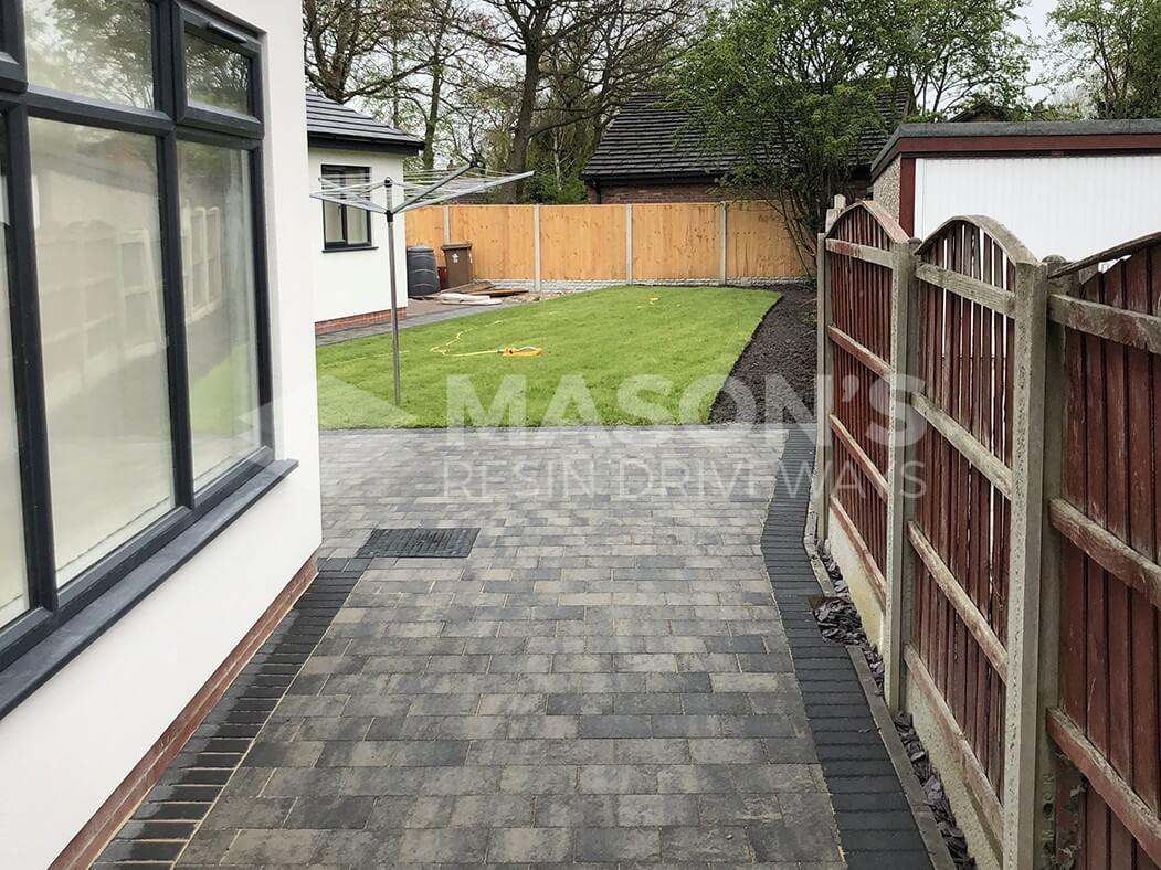 Block Paving Driveway Shannon Slate leading to back garden in Preston, Lancashire