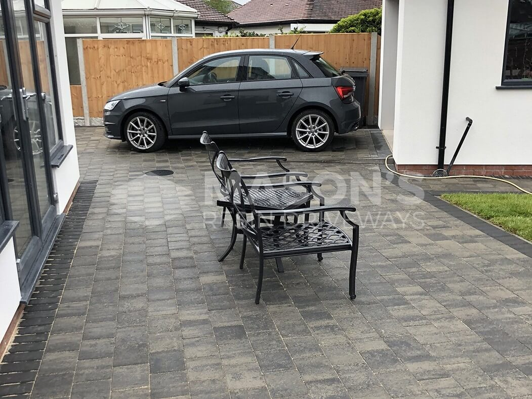 Block Paving Driveway with car and chairs in Preston, Lancashire