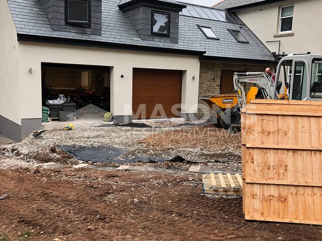 Driveway being prepped for Block Paving in Indian Sandstone, Preston, Lancashire