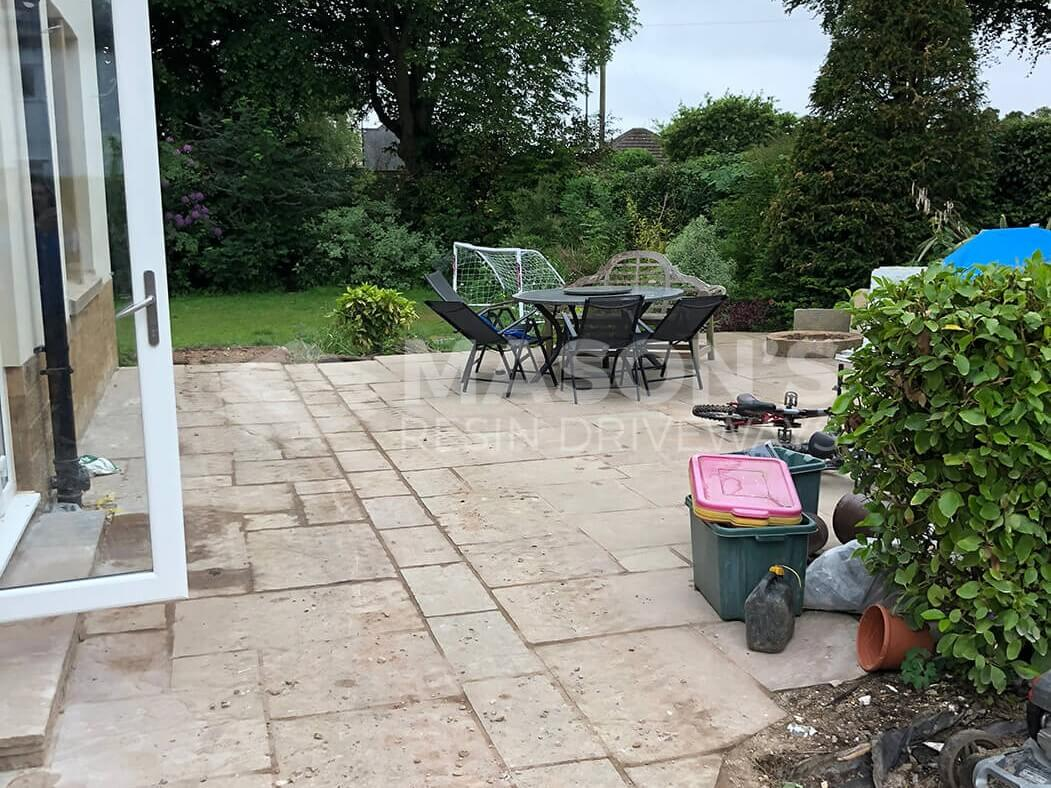 Before Block Paving Indian Stone was complete on driveway in Preston, Lancashire