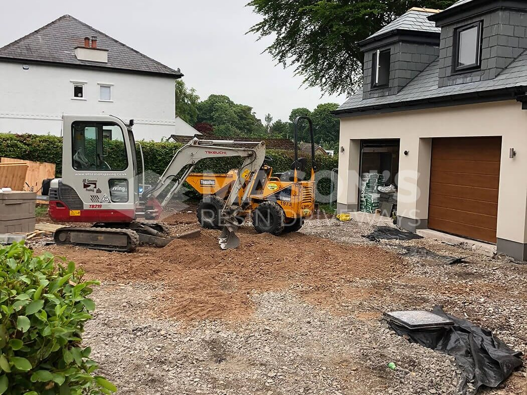 Diggers on Block Paving Driveway Worksite in Preston, Lancashire