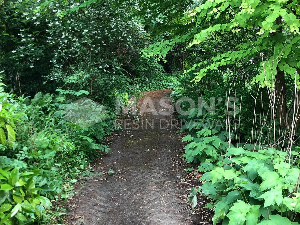 Garden pathway before picture of Block Paving Indian Sandstone in Preston, Lancashire
