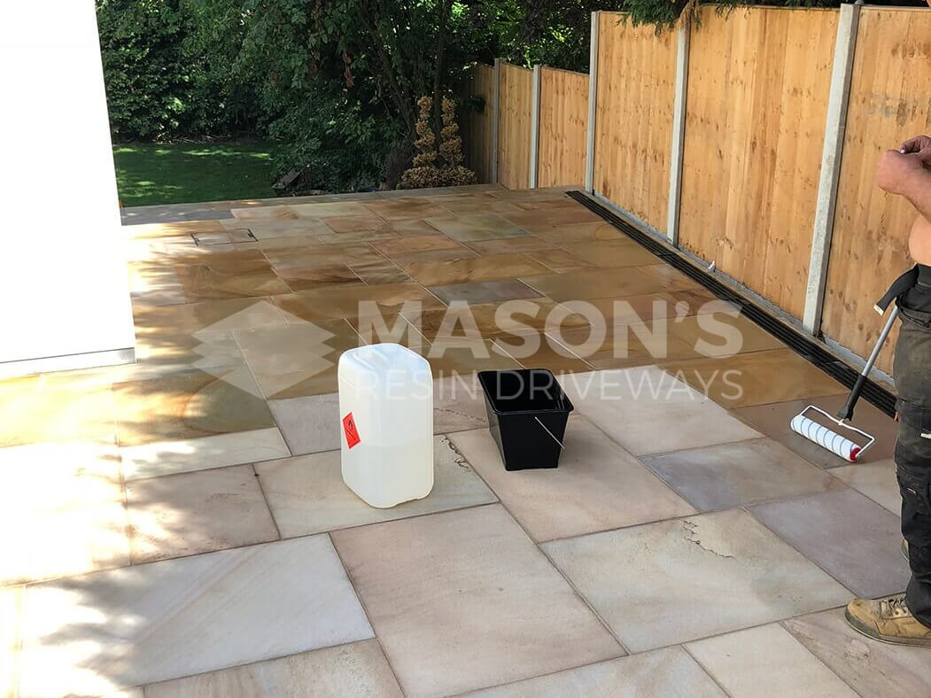 Close up of Indian Sandstone in Block Paving Driveway job in Preston, Lancashire
