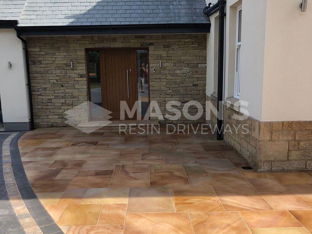 Front Door View of Indian Sandstone Block Paving in Preston, Lancashire