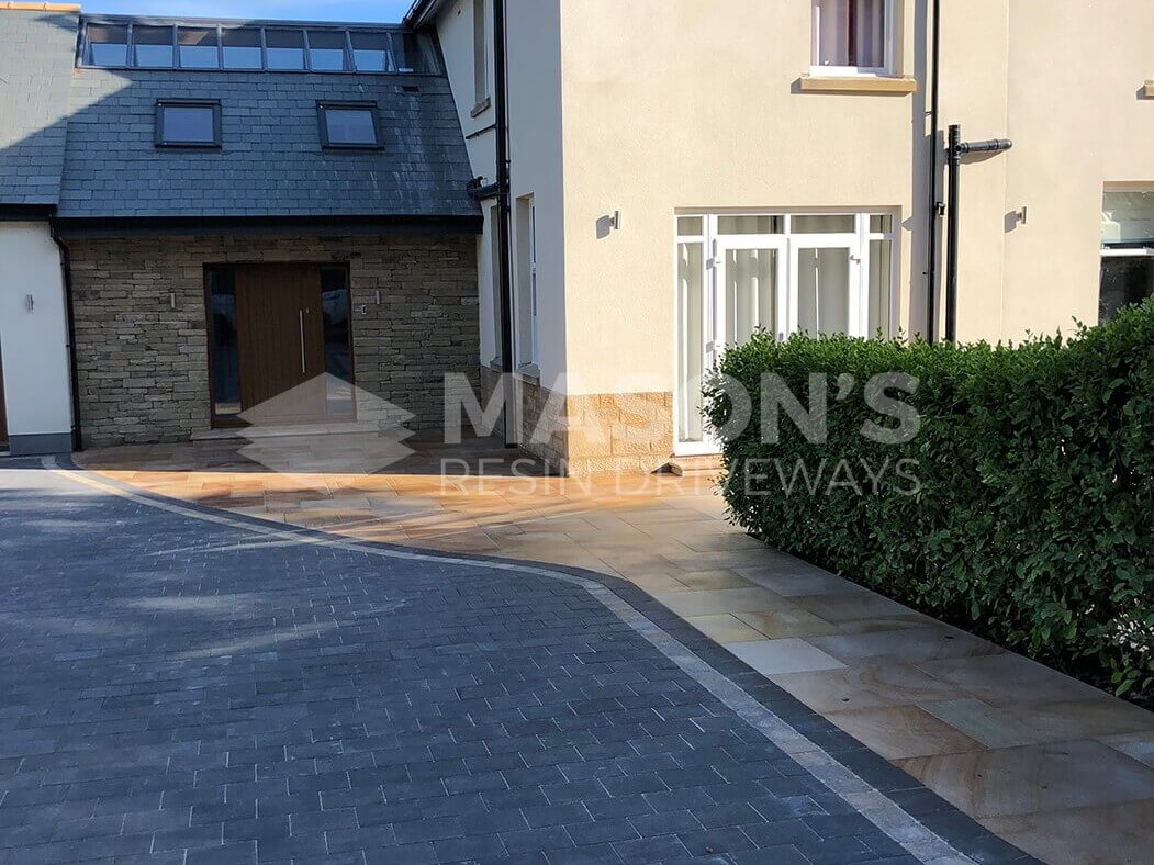 Wide shot of Block Paving Driveway and Indian Sandstone in Preston, Lancashire