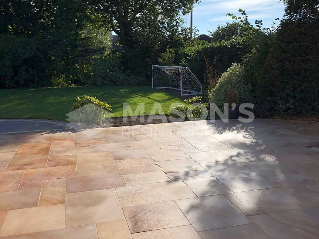 Back Garden of Block Paving Driveway Indian Sandstone in Preston, Lancashire