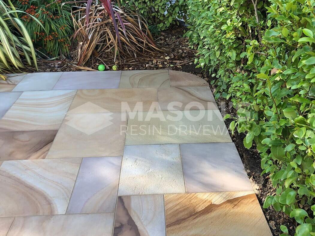 Corner Close up of Indian Sandstone of Block Paving Driveway job in Preston, Lancashire