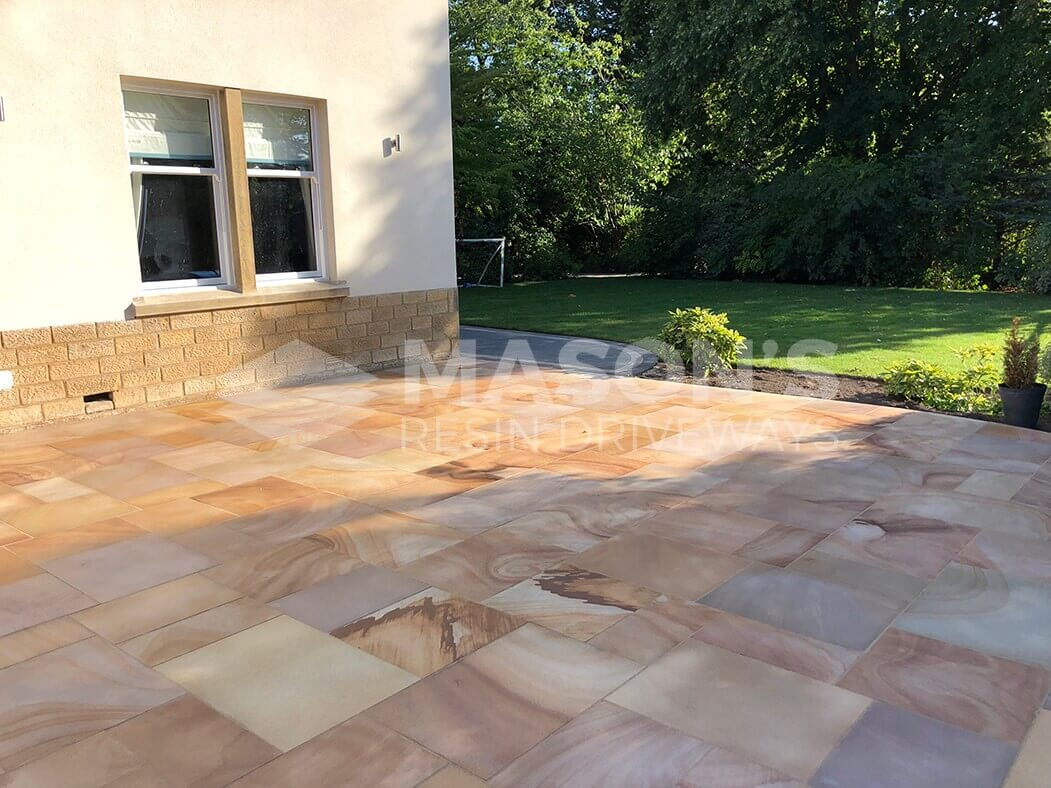 Wide window view of Indian Sandstone Block Paving Driveway job in Preston, Lancashire
