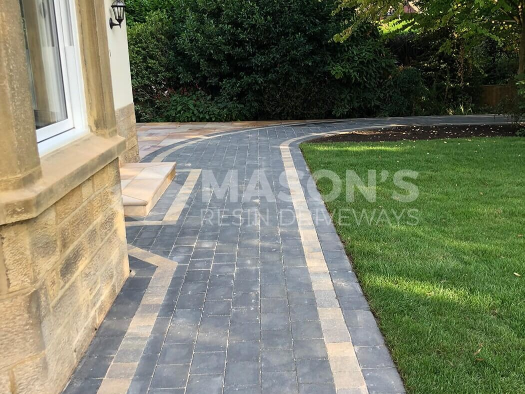 Close up of Block Paving Driveway with Indian Sandstone in Preston, Lancashire