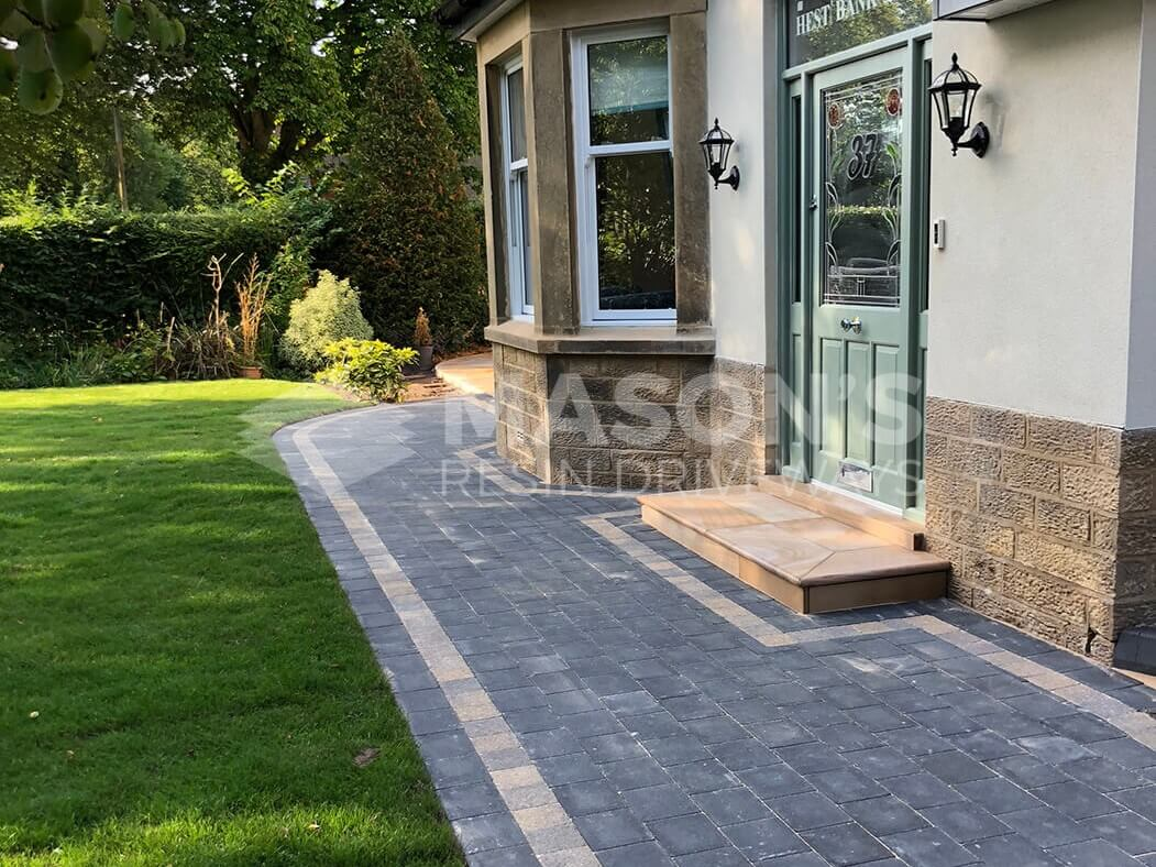 Back door view of Block Paving Driveway and Indian Sandstone steps in Preston, Lancashire