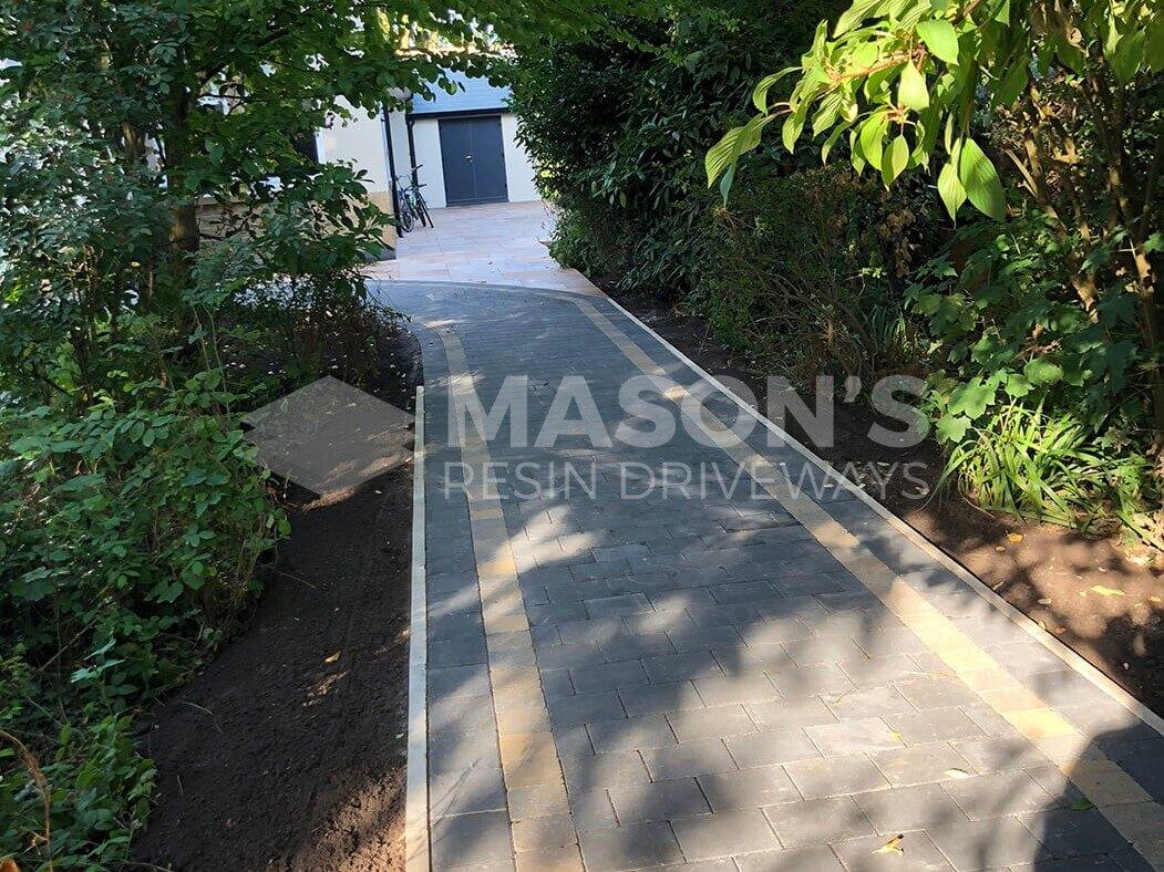Block paving walkway with Indian Sandstone driveway in Preston, Lancashire