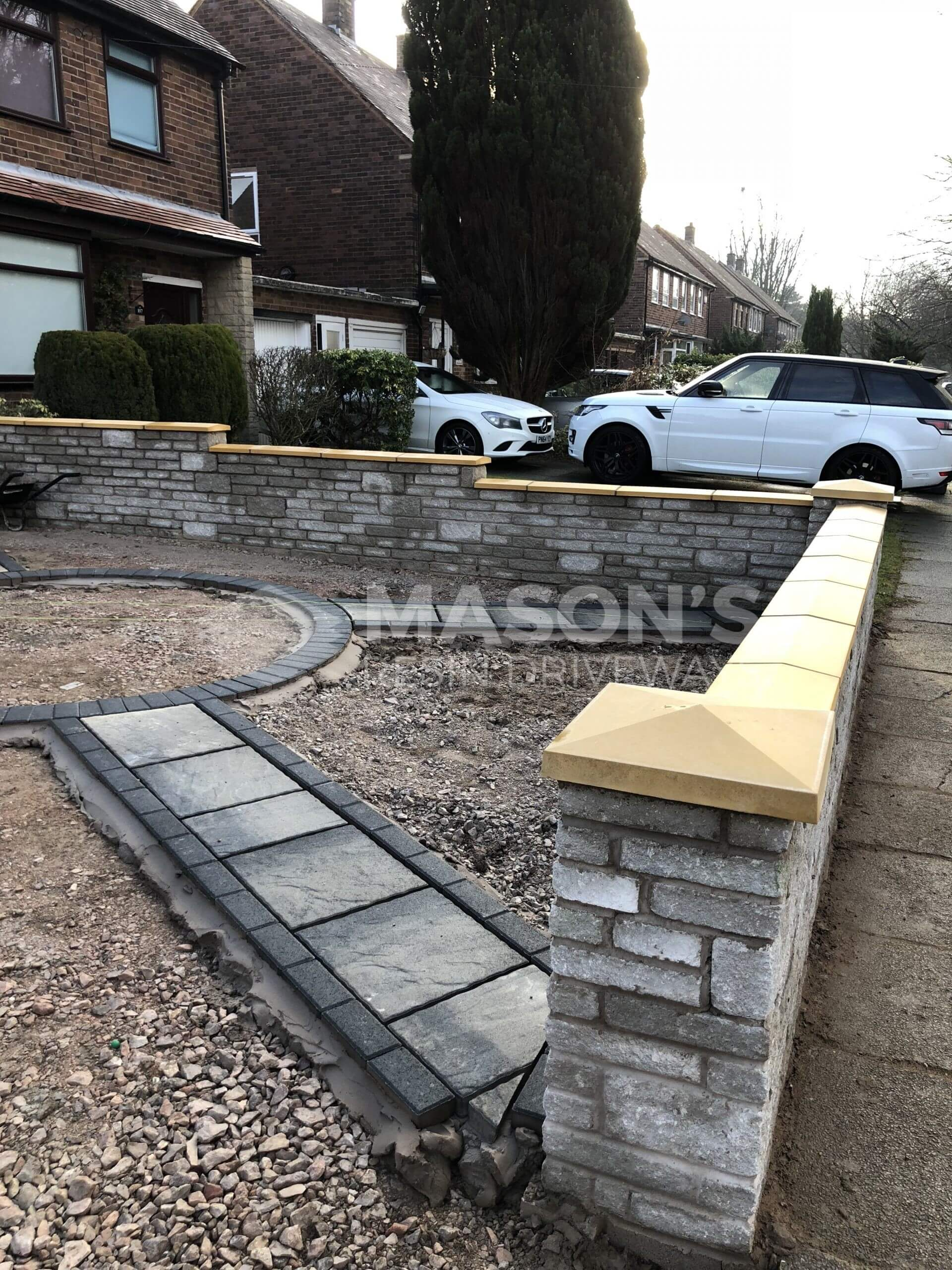 block paving and walling being done in leyland, near preston