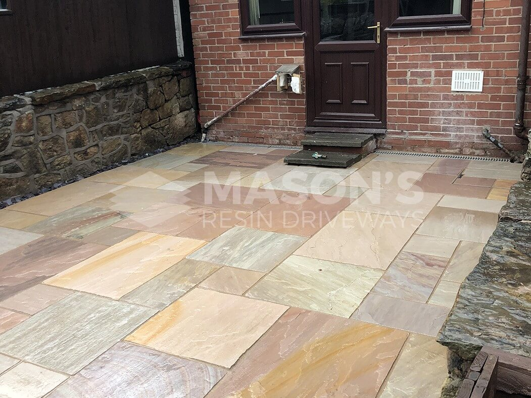door view of bradstone indian sandstone patio in chorley, near preston