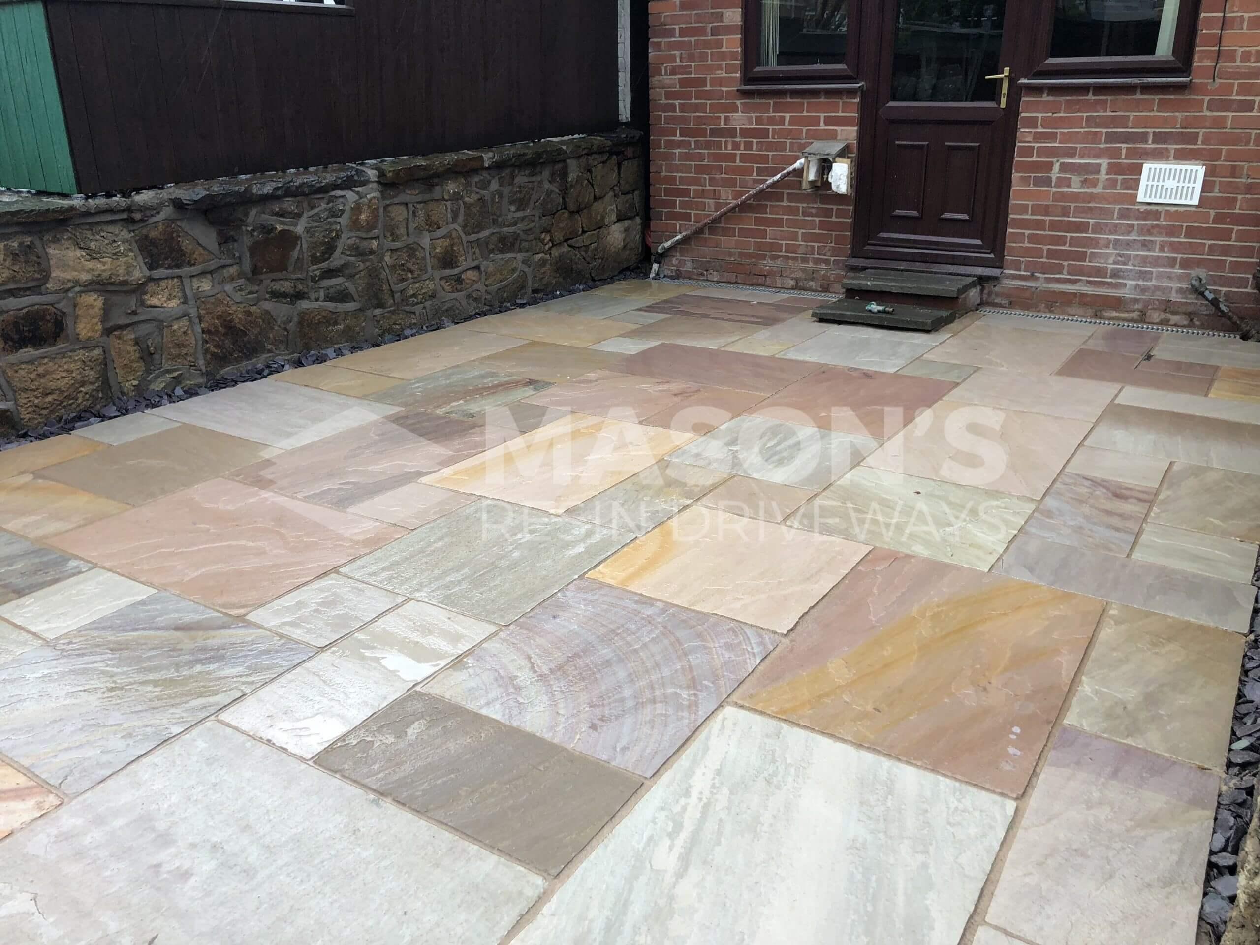 indian sandstone patio in chorley, near preston