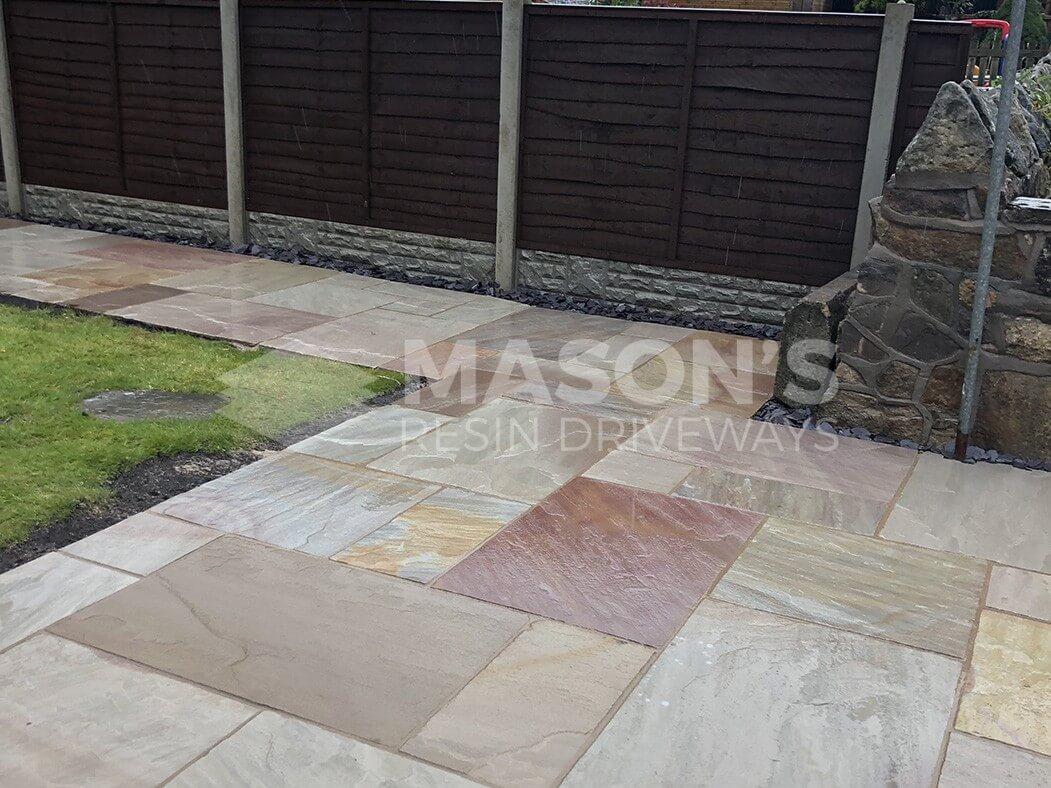 side view of indian sandstone patio in chorley near preston