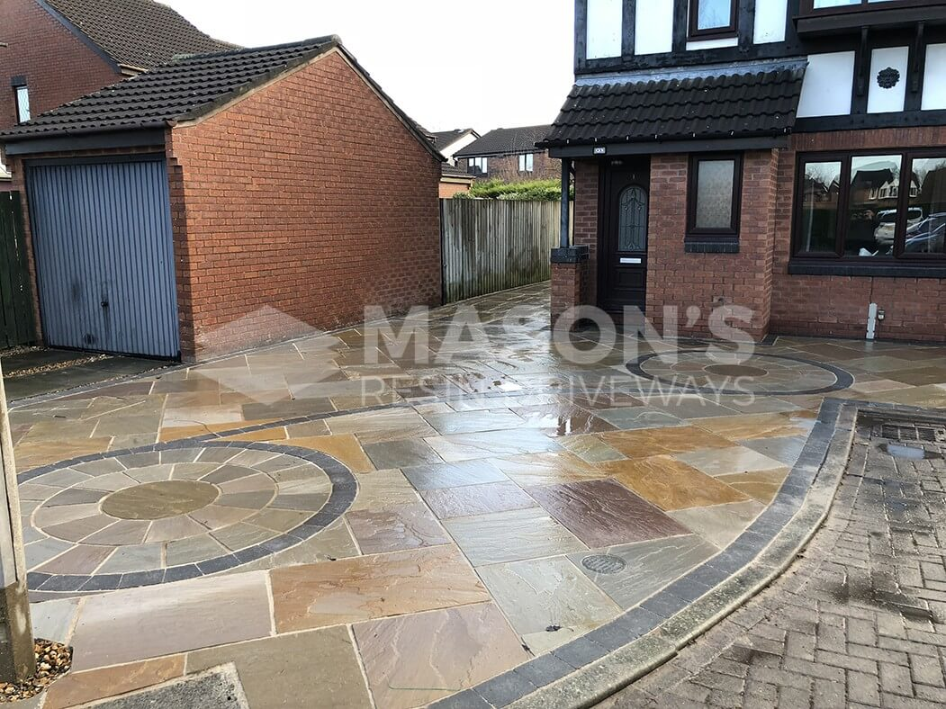 Finished Framed Indian Sandstone Driveway in Preston, Lancashire