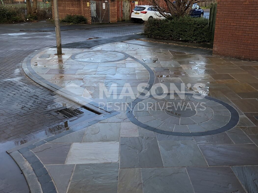 street view of framed indian sandstone driveway in Preston, Lancashire
