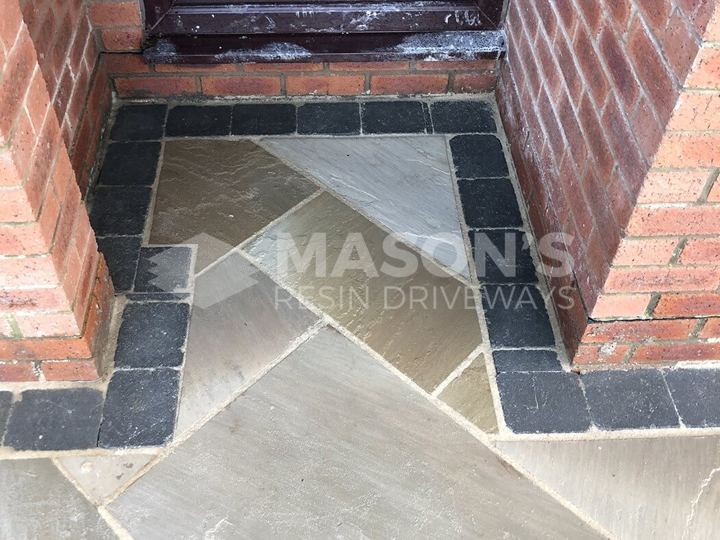 close up of corner in framed indian sandstone driveway preston, lancashire