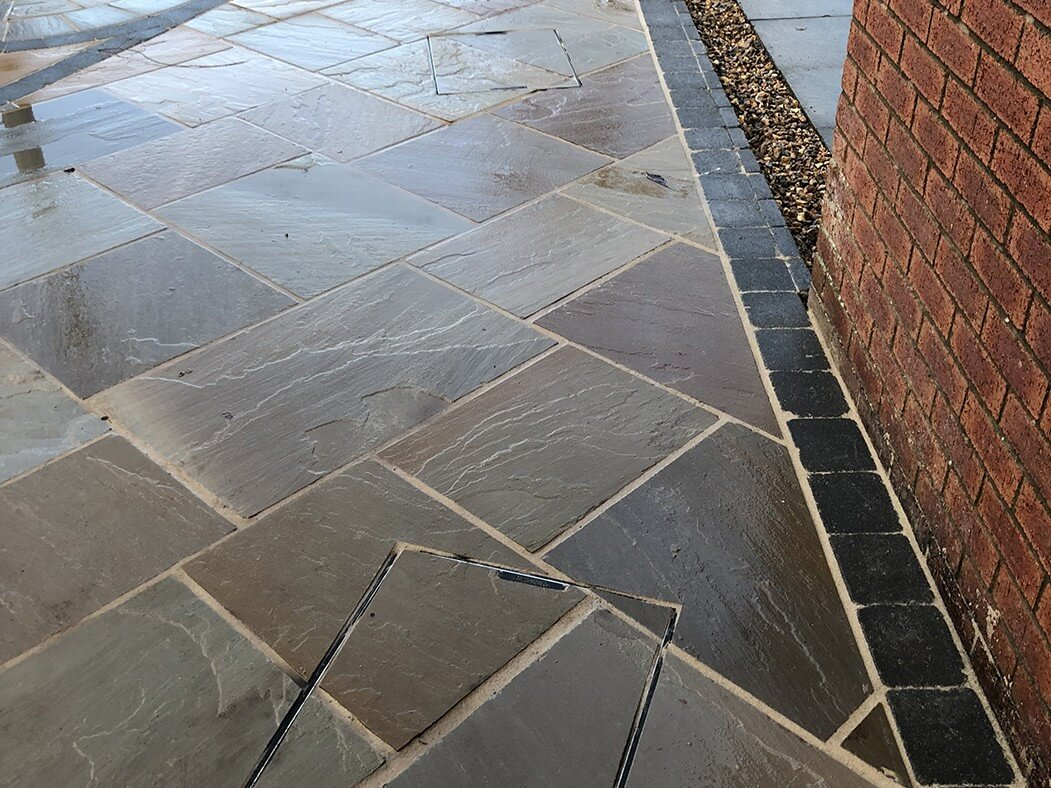 indian sandstone flagged driveway edges preston, lancashire