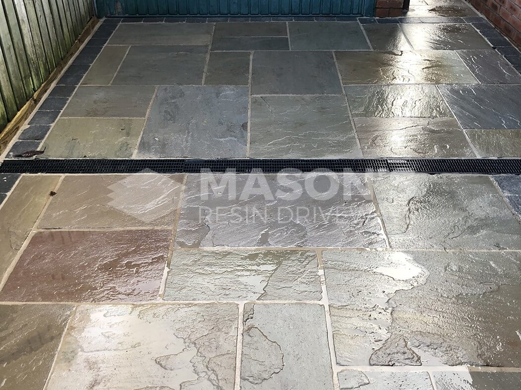 indian sandstone driveway lancashire, preston close up