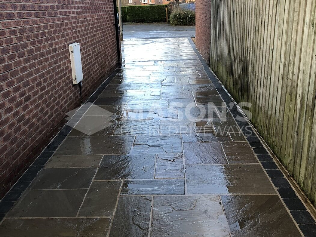 street view indian sandstone framed driveway preston, lancashire