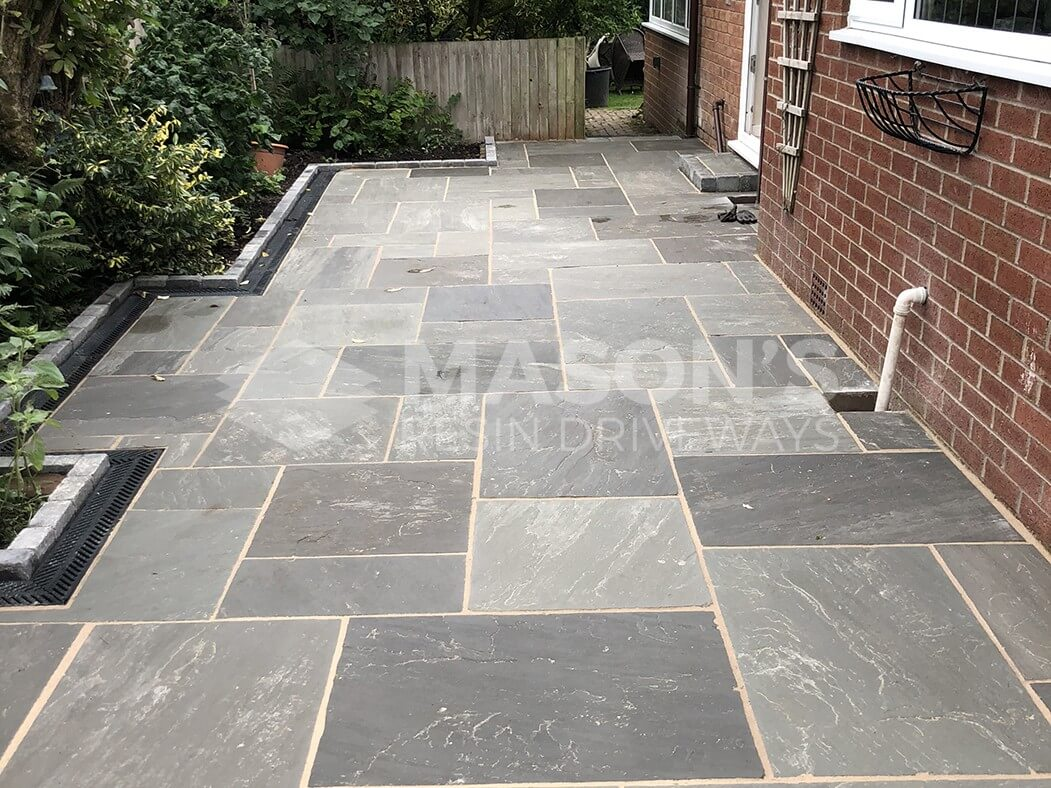 Grey Indian Sandstone Driveway side view Preston