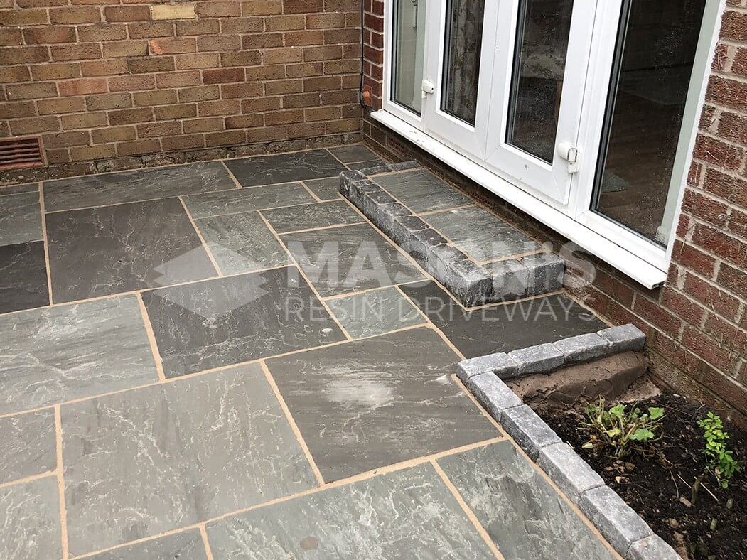 Grey Indian Sandstone Driveway Preston, Door and Step