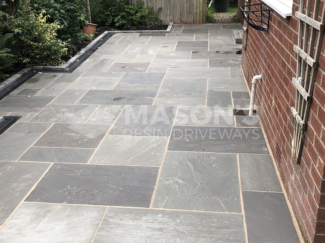 Grey Indian Sandstone Flagged Patio/Driveway in Longton, Preston
