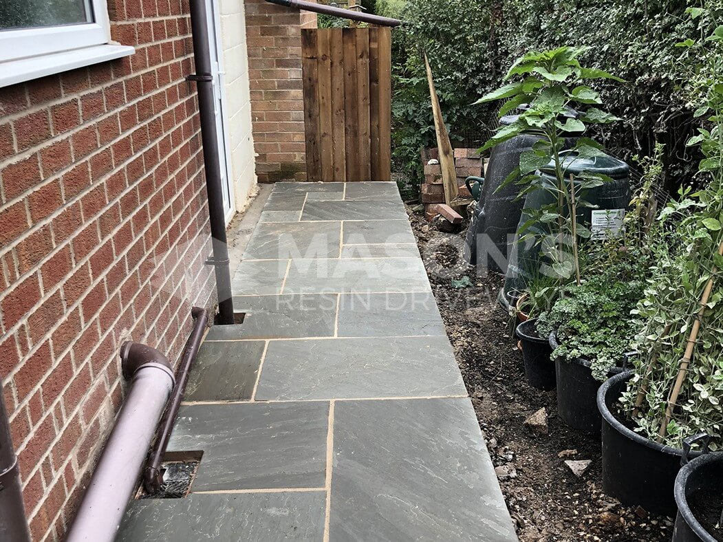 Alley of Grey Indian Sandstone Driveway in Longton, Preston