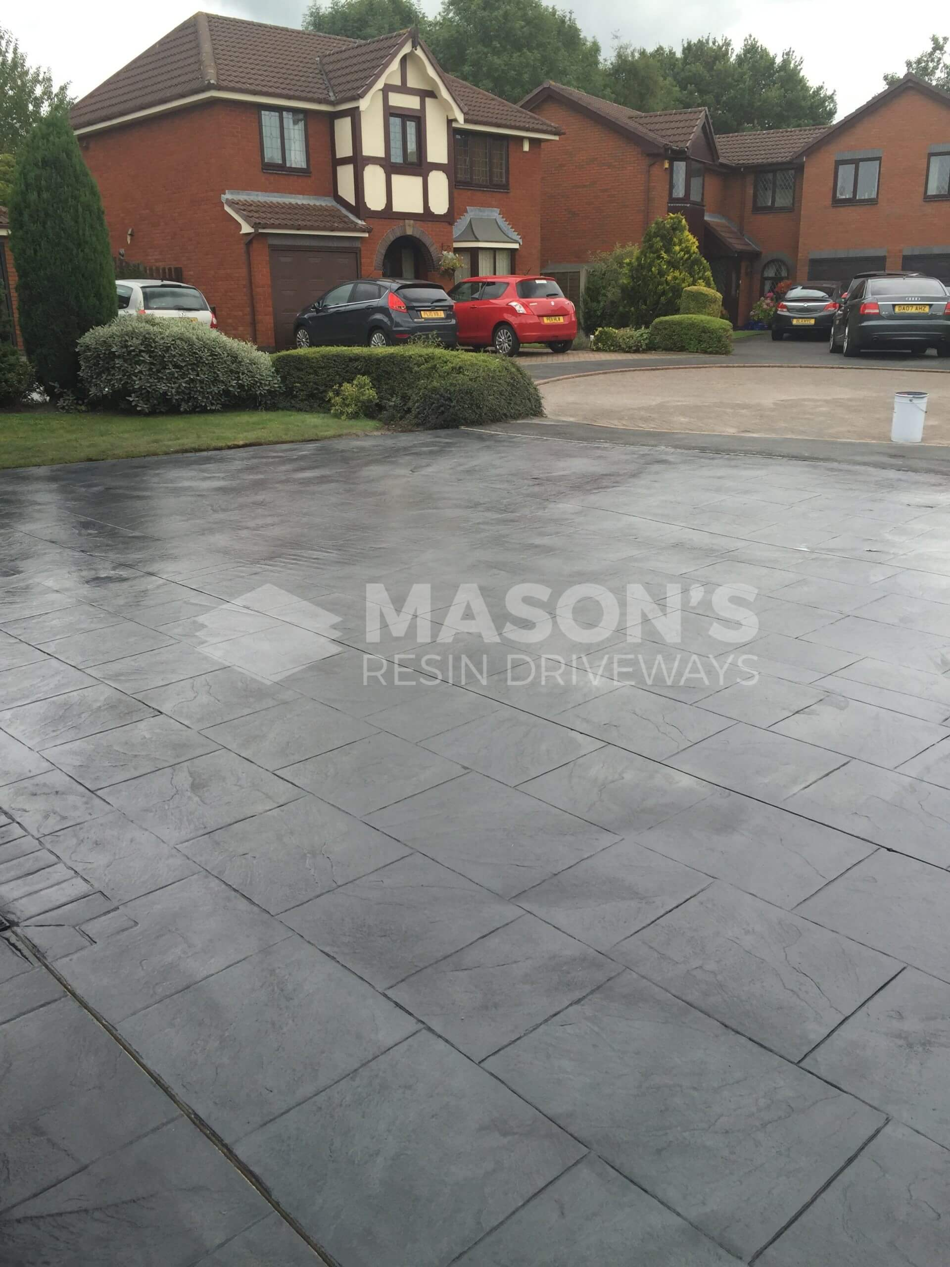 street view of pattern imprinted grey concrete driveway preston, lancashire