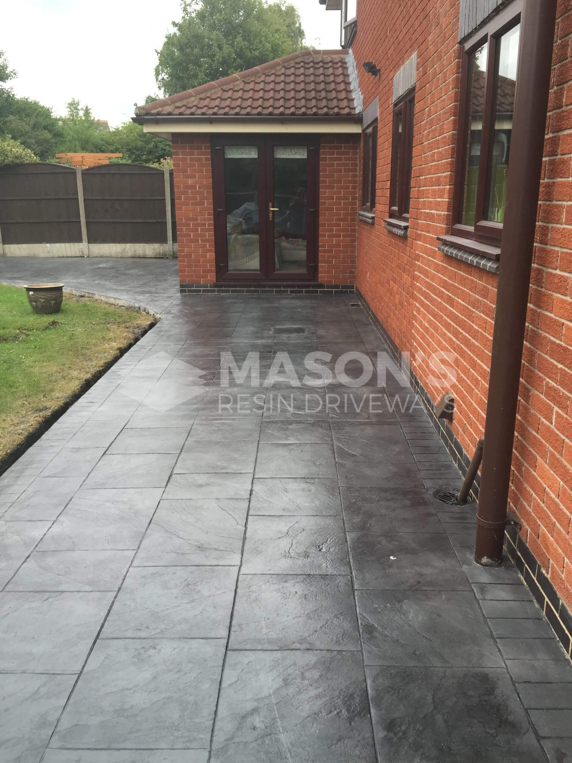 back garden door pattern imprinted concrete driveway preston, lancashire