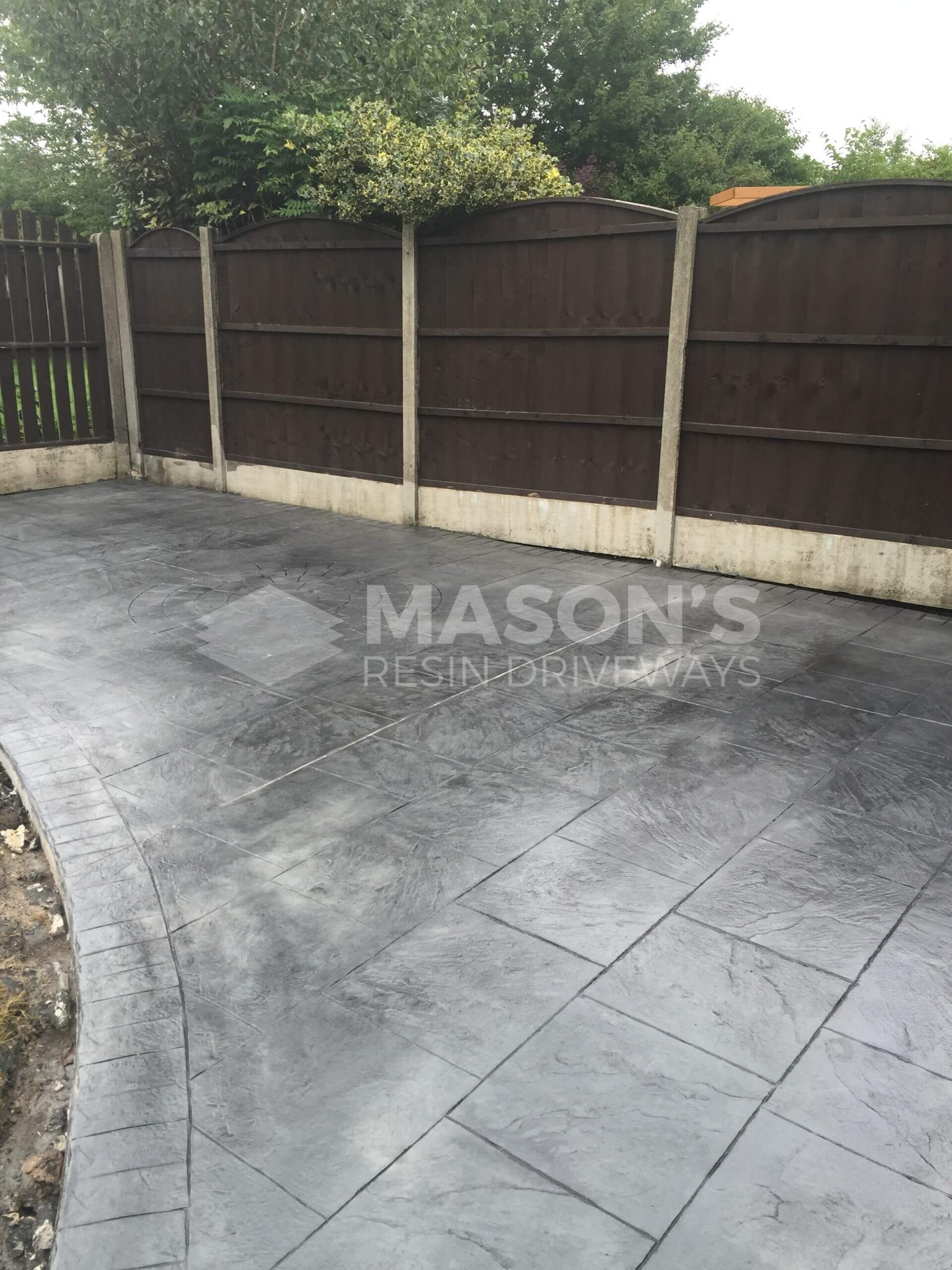 photo of pattern imprinted concrete on driveway & patio in preston, lancashire