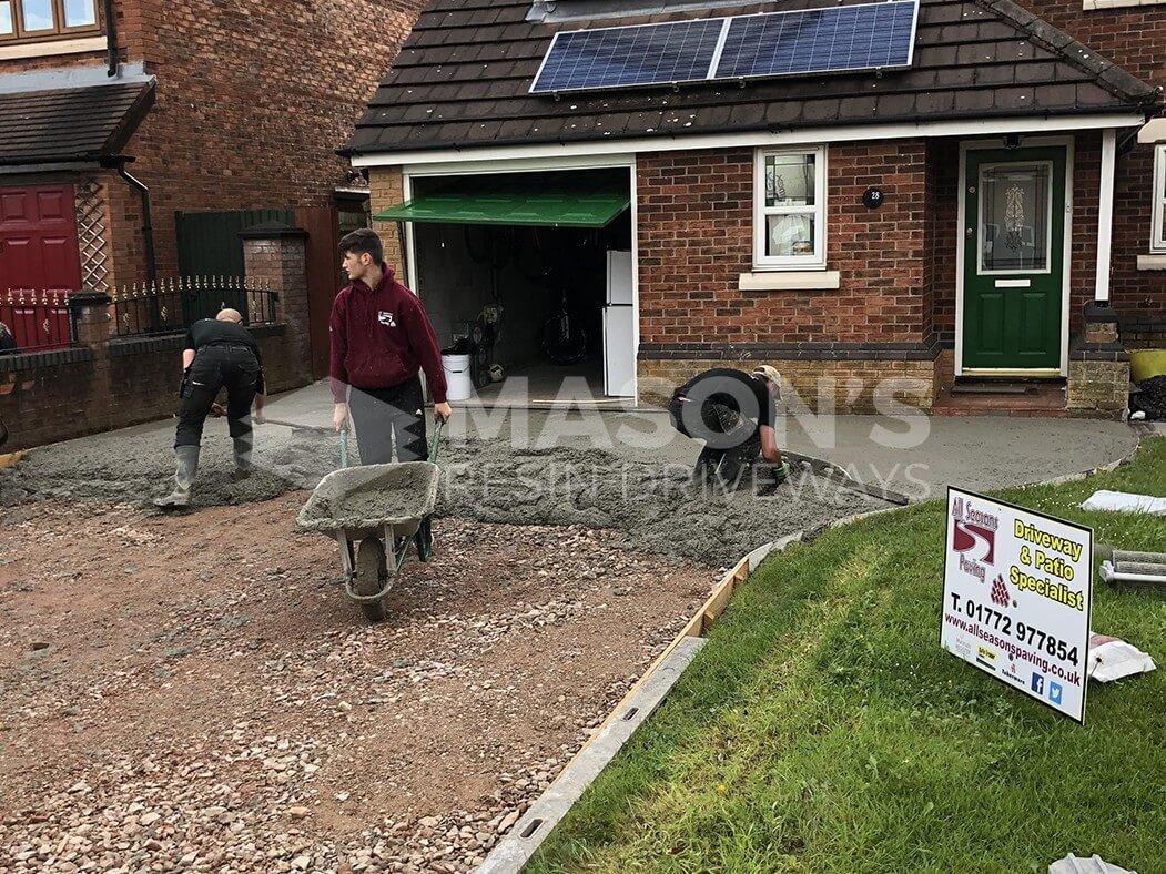 Pattern Imprinted Concrete Driveway Preston, Workers Preparing