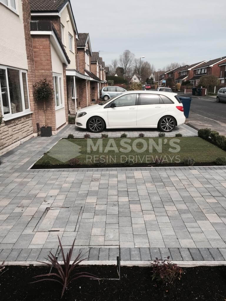 Side view of Pennant Grey Block Paving Driveway in Preston, Lancashire