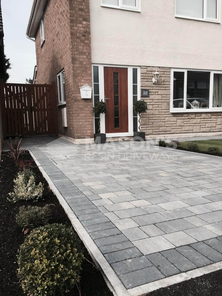 One driveway view of Pennant Grey Block Paving in Preston, Lancashire
