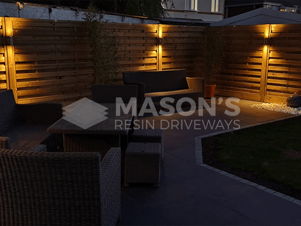 Anthracite Porcelain Patio in Preston at night
