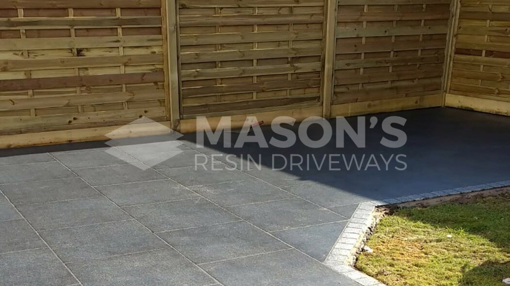 porcelain patio anthracite grey with tantalised fencing in penwortham, preston
